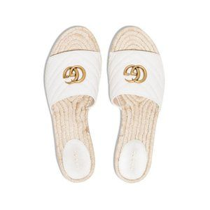 GUCCI Pilar GG Matelassé Espadrille Slide Sandal White Women Shoes SZ 38 EU 8 US